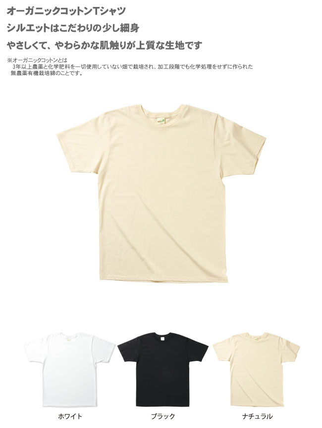 オーガニックコットンTシャツのMS1133