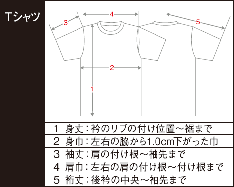 Tシャツ寸法の計り方
